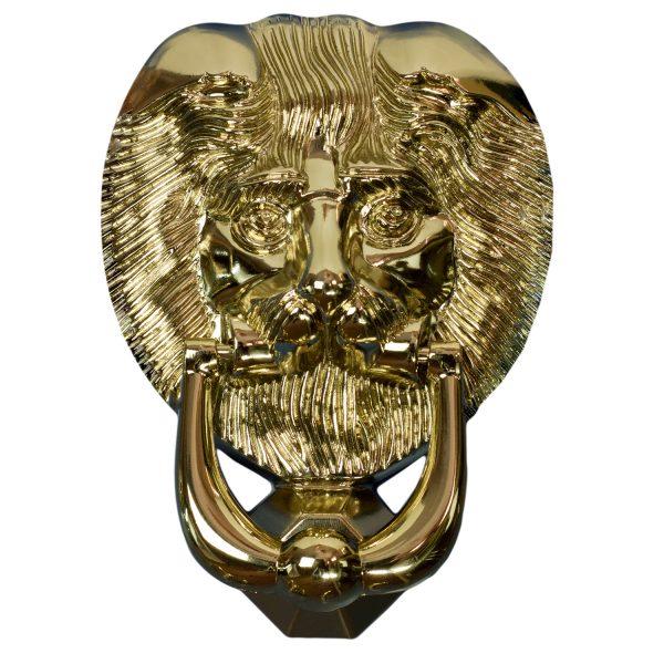Nu Lions Head Door Knocker Gold